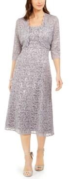 R & M Richards Petite Glitter Lace Jacket & Midi Dress