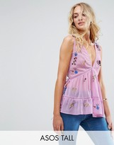 Asos Tall Sleeveless Embroidered Singlet With Lace Up Back