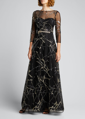 Rickie Freeman For Teri Jon 3/4-Sleeve Beaded Tulle Illusion Gown
