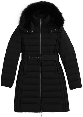 La Redoute Collections Long Belted Padded Jacket with Hood