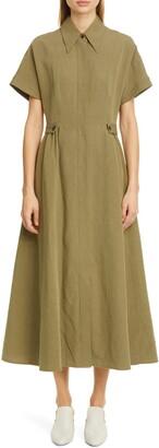 Co Tab Waist Linen & Cotton Midi Shirtdress