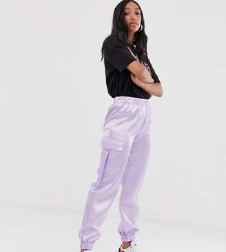 Reclaimed Vintage inspired satin utility sweatpants-Purple