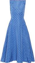 Lela Rose Flocked Silk-faille Midi Dress - Blue