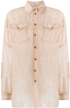 Brunello Cucinelli Sheer Button-Up Silk Shirt