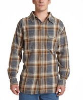 Stanley Gray Plaid Stone-Washed Flannel Button-Up