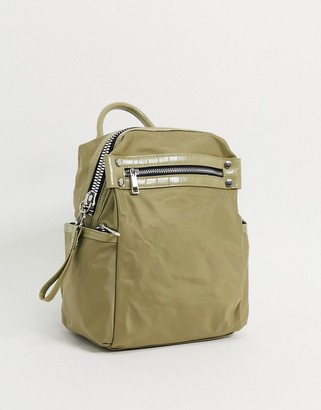 ASOS DESIGN backpack with chunky zip and croc detail in khaki