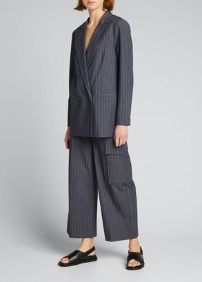Ganni Stretch Suiting Pinstripe Wide-Leg Pants