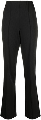 Saks Potts Monogram-Pattern Straight-Leg Trousers