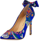 Neiman Marcus Verity Printed Bow-Back Pump