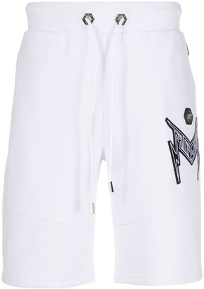 Philipp Plein Thunder Logo Embroidered Track Shorts
