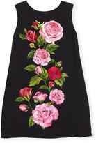 Dolce & Gabbana Sleeveless Rose Jersey Shift Dress, Black/Multicolor, Size 8-12