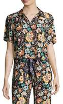 Frame Floral Button Front Mini Shirt