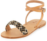 Elina Lebessi Aliki Woven Ankle-Wrap Flat Sandal, Black/Taupe