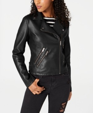 Coffeeshop CoffeeShop Juniors' Faux-Leather Moto Jacket