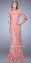 La Femme All Over Lace Modest Short Sleeve Evening Dress