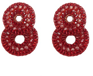 Red Velvet Hand Crochet Double Hoops Earrings