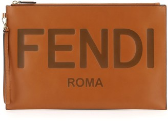 Fendi Logo Embossed Clutch