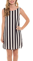 Black & White Stripe Sleeveless Shift Dress