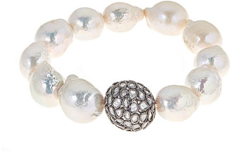 Forever Creations Usa Inc. Forever Creations Silver 1.40 Ct. Tw. Diamond & 10Mm Freshwater Pearl Stretch Bracelet