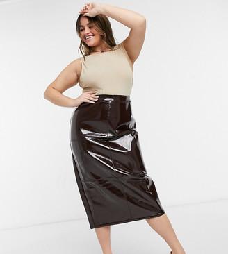 ASOS DESIGN Curve midi skirt in oxblood vinyl