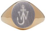 J.W.Anderson Gold and Silver Logo Signet Ring