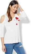 New York & Co. Patches Cold-Shoulder Graphic Logo T-Shirt - White