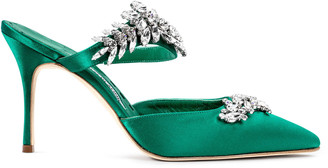 Manolo Blahnik Lurum 90 emerald satin pumps