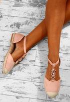 Pink Boutique Diamond Diva Pink Embellished Strap Espadrilles