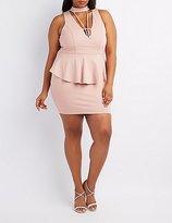 Charlotte Russe Plus Size Caged Mock Neck Peplum Dress