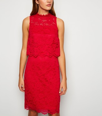 New Look Lace High Neck LayeShift Dress