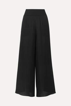 Theory Silk Crepe De Chine Wide-leg Pants - Black