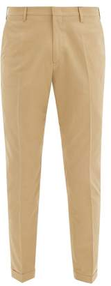Paul Smith Turned Up Cuff Cotton Slim Fit Trousers - Mens - Beige