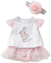 Starting Out Baby Girls Newborn-9 Months Rabbit Top, Skirt, & Headband Set