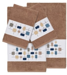 Linum Home Khloe 4-Pc. Embroidered Turkish Cotton Bath and Hand Towel Set Bedding