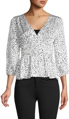 Lea & Viola Splatter-Print Shirred Top