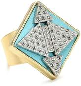 """SANDY HYUN Deluxe Deco"""" Leather with Crystal Rhinestone Diamond Shape Adjustable Ring"""