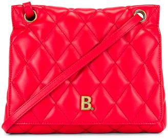 Balenciaga Medium Quilted Leather B Shoulder Bag in Bright Red   FWRD