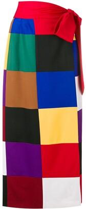 Sara Battaglia square print straight skirt