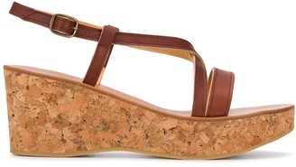 K. Jacques Cork Wedge Sandals