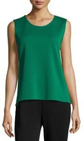 Caroline Rose Sleeveless Wool Long Tank, Emerald, Petite