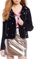 Sugar Lips Sugarlips Star Studded Faux Leather Moto Jacket
