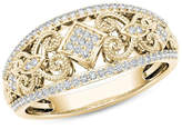 Zales 1/5 CT. T.W. Composite Diamond Vintage-Style Tilted Square Filigree Ring in 10K Gold