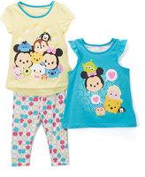 Children's Apparel Network Disney Tsum Tsum Blue Flutter-Sleeve Top Set - Toddler & Girls