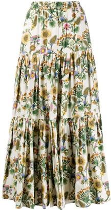 La DoubleJ x Mantero Thistle print flared skirt