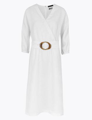 Marks and Spencer Pure Irish Linen V-Neck Midi Waisted Dress