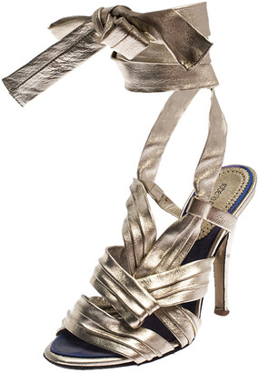 Roberto Cavalli Metallic Gold Leather Ankle Wrap Strappy Sandals Size 35.5