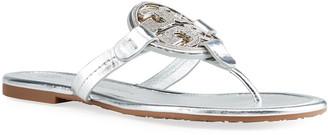 Tory Burch Miller Metallic Logo Flat Thong Sandals
