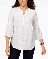 Style&Co. Style & Co Petite Floral-Applique Blouse, Created for Macy's