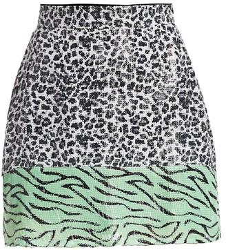 Olivia Rubin Animal-Print Sequin Mini Skirt