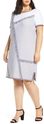 Ming Wang Fringe Trim A-Line Sweater Dress